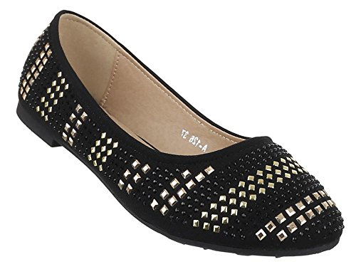 Ballerinas Damen Schuhe Slipper Loafers Strass Nieten Schwarz