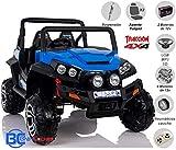 BC BABY COCHES BC Baby Auto babycoches Buggy Safari. 2x 12V, biplaza, Traccion 4x 4, posti polipiel, ruote fuoristrada gomma, telecomando genitore, Collegamento Bluetooth Movil blu