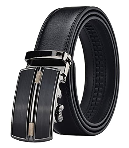 QISHI YUHUA PD Men's Fashion trends Cowhide Leather Belt Automatic Buckle Belt, Black 00, Suitable for 20