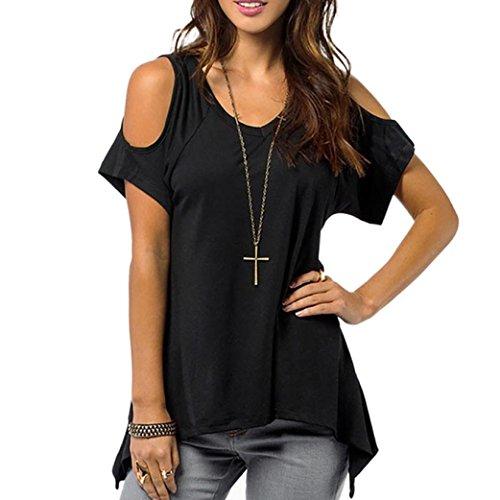 Zolimx Sommer Frauen T-Shirt mit V-Ausschnitt beiläufige Schulterfrei Feste Stretch Tops (L, Schwarz) (Rock Schwarz Gebändert)