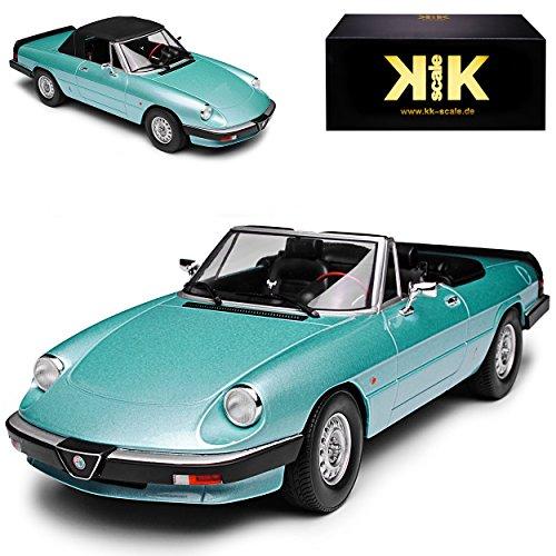 Auto Für Spider (Alfa Romeo Spider Cabrio Blau Türkis 3. Generation 1983-1989 limitiert 1 von 750 Stück 1/18 KK-Scale Modell Auto)