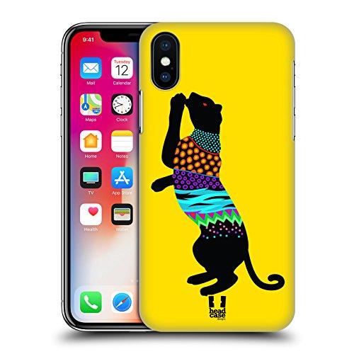 Head Case Designs Giraffa Silhouette Di Animali Neon Cover Retro Rigida per Apple iPhone X Tigre
