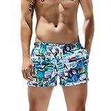 Manadlian Herren Badehose Badeshorts Block Trainingshose Sporthose Shorts für Männer Badehose Schnelltrocknend Surfen am Strand Laufen Schwimmen Wassershort Blau Rot