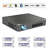 Wireless 3D DLP projecteur Bluetooth 4,0 Dual WiFi AirPlay Miracast Built-in batterie-pour la maison Cinema Theater School Bureau PPT pr¨¦sentation Camping utilisation (UK plug)