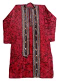 DollsofIndia Kantha Embroidery on Red Ba...