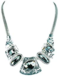 Statement Necklace For Women And Girls (Silver & Black)