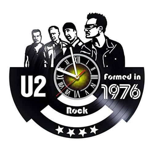 Toffy Workshop U2-Vinyl Schallplatte Wanduhr-Aufregende Zimmer Decor Idee für Erwachsene, Männer und Frauen-Rock Musik Modern Art Design