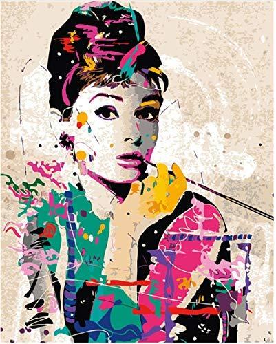 QHQ Kein Rahmen Malen nach Zahlen DIY Wall Decor Bilder Malen Nach Zahlen Handgemalt Auf Leinwand Gemälde Audrey Hepburn Moderne Abstrakte Ölgemälde 40cmx50cm