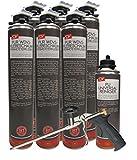 SDV Profi Pack WDVS PERIMETERKLEBER B1 Pistolenklebeschaum 6x 800 ml + 1 PU-Reiniger + 1 Schaumpistole mit Zulassung für WDVS