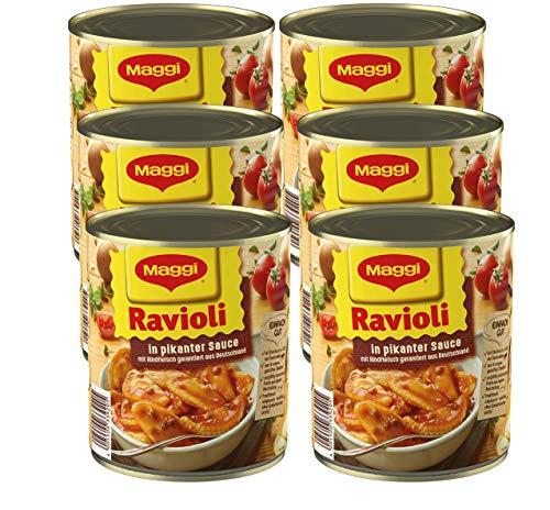 MAGGI Ravioli in pikanter Sauce, Teigtaschen mit Rindfleisch-Füllung, leckeres Fertiggericht für...