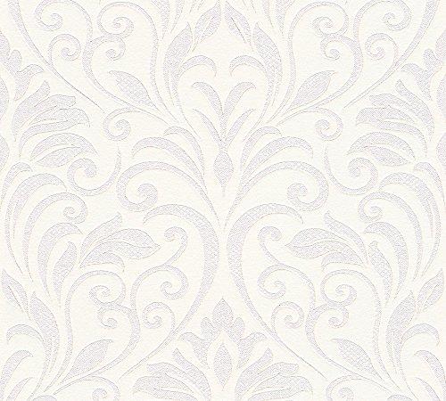 Livingwalls Vliestapete Moments Tapete mit Ornamenten barock 10,05 m x 0,53 m metallic rosa weiß Made in Germany 328342 32834-2