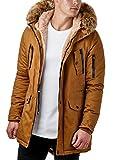 Burocs Herren Parka Winter Mantel Jacke Teddy Kapuze Kunst Fell Schwarz Khaki BR7128, Größe:M, Farbe:Camel
