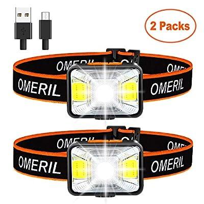 OMERIL 2 Pack Stirnlampe LED Wiederaufladbar USB Kopflampe Stirnlampe Kinder, Sehr hell, wasserdichte Mini Stirnlampe Rotlicht für Joggen, Laufen, Campen, Angeln [ inkl. USB Kabel ]