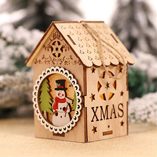 vijTIAN - Decorazione Natalizia a Forma di casetta in Legno con Luce a LED, Ideale Come Decorazione Natalizia per Aumentare l'atmosfera Festiva per la Famiglia B