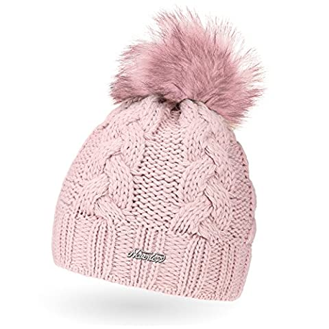 Damen Strick-Mütze gefüttert mit Fell-Bommel, Kunstfell, Winter-Mütze, Bommelmütze, Neverless® rosa-rosa unisize