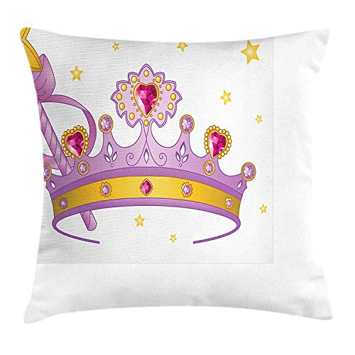 BUZRL Princess Throw Pillow Cushion Cover, Princess Crown and Wand with a Star Gem Figures on Tiara Girls Kids Print, Decorative Square Accent Pillow Case, 18 X 18 inches, Pink Lilac Yellow -