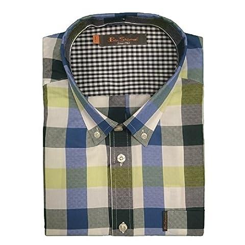 Ben Sherman Men's Check Short Sleeve Shirt 0048836, Bleu, 4X-Large