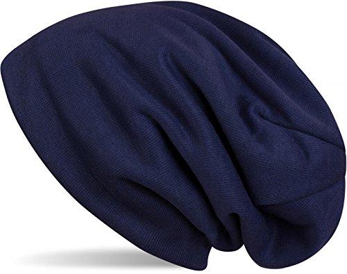 styleBREAKER warme Feinstrick Beanie Mütze mit sehr weichem Fleece Innenfutter, Longbeanie unifarben, Unisex 04024092, Farbe:Dunkelblau