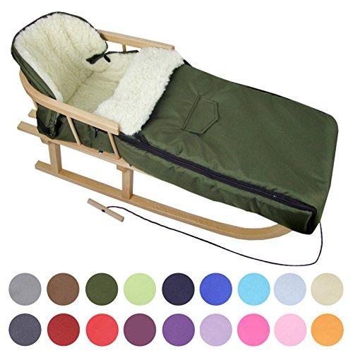 BAMBINIWELT Kombi-Angebot Holz-Schlitten mit Rückenlehne & Zugseil + universaler Winterfußsack (108cm), auch geeignet für Babyschale, Kinderwagen, Buggy, aus Wolle Uni (olivegrün)