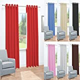 "John Aird Eyelet Thermal Energy Saving Blackout Ready Made Curtains (Red, 168cm Width x 137cm Drop (66""x 54"")"