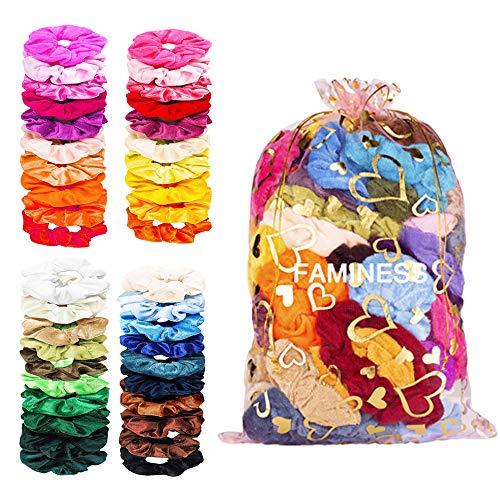 FAMINESS 50 Stück Samt Haargummis | 50 Farben Elastische GummibänderHaarbänder Scrunchies | Pferdeschwanz Haarband Haaschmuck für Mädchen Frauen -