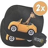 HECKBO Selbsthaftende Auto Sonnenblende - Autosonnenschutz für Kinder [2 Stück] | Motiv: Lustige Giraffe im Auto | Autofenster Sonnenschutz | 44x36cm | inkl. gratis Tasche