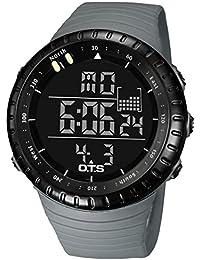 Panegy - Reloj Digital Multifuncional para Hombres Chicos Impermeable de deporte al aire libre - gris negro