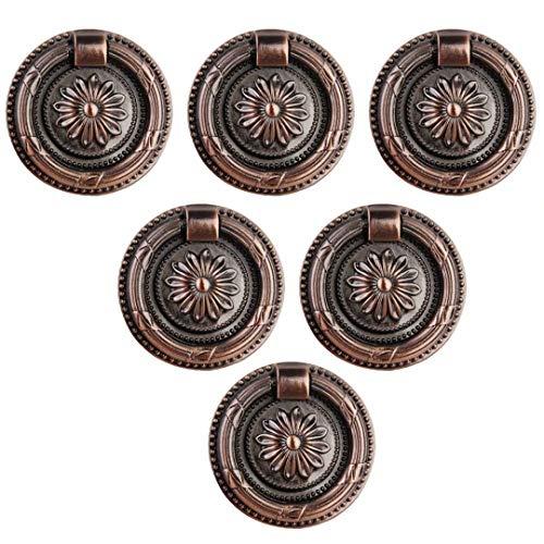 Creatwls 6 Stück Vintage Stil Ring Griff Knopf Möbelgriff Ziehgriff Schrank Schublade Ringgriff Ziehgriff Zink-Legierung Küche Türgriffe Schubladenknöpfe Kommode Griff