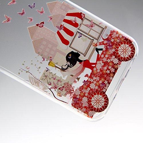"""Coque pour iPhone 6 6S 4.7"""", ISAKEN Transparente Ultra Mince Souple TPU Silicone Etui Housse de Protection Coque Étui Case Cover pour Apple iPhone 6 6S 4.7 Pouce (Fleur Pêche) Fille Voiture"""