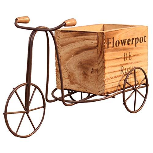 Noblik Modelo de Triciclo de Madera Maceta de Hierro Forjado Soporte de Flor de Bicicleta Estante de Almacenamiento Interior Casa Jardín Decoración de Escritorio Artesanía Regalos