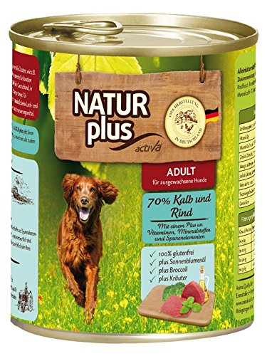 NATUR plus Hundefutter ADULT mit 70% Kalb & Rind (glutenfrei) (6 x - Natur Plus Hundefutter