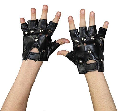 Foxxeo Schwarze Punk Handschuhe mit Nieten für Damen zu Karneval Fasching Halloween (Einfachste Kostüm)