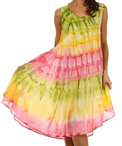 Sakkas 605 Wüstensonne Kaftan Kleid oder Vertuschung für Damen- Grün/Gelb - One Size