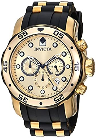 INVICTA Men's Quartz Watch with Gold Dial Chronograph Display and Multicolour Polyurethane Strap
