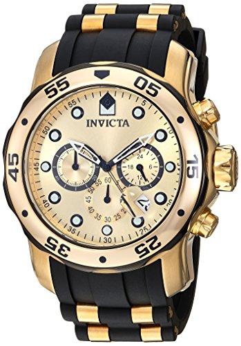INVICTA Men's Quartz Watch with Gold Dial Chronograph Display and Multicolour Polyurethane Strap 17885