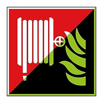 Löschschlauch Brandschutzzeichen 200x200mm - lang nachleuchtend – Aluminiumschild - gem. ASR 1.3, DIN ISO 7010 (F002)