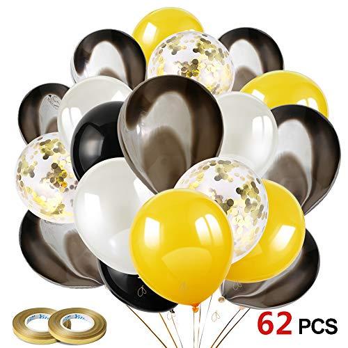 Howaf 60 Stück 12 Zoll Silber Schwarz Gold Luftballons Konfetti Ballons Helium Ballons für Damen Herren Geburtstag Abschluss Halloween Party Deko (Uk Halloween Ballons)