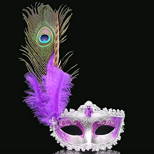 Halloween Kostüm Pfauenaugenmaske, mit Federn Venezianische Maskerade Partei Masken Diamind Frauen Sexy Halbe Gesichtsmaske für Kostüm Halloween Cosplay Kostüm Karneval Ball Maske (Color : Purple) (Lila Feder Maske Mit Pailletten)