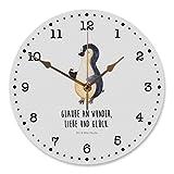 Mr. & Mrs. Panda Kinderzimmer, Druck, 30 cm Wanduhr Pinguin Marienkäfer mit Spruch - Farbe Weiß