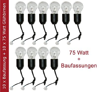 10 x Glühbirne 75W E27 klar Glühlampe 75 Watt + 10 x Baufassung Lampenfassung