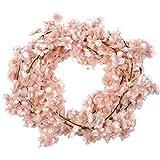 Homcomoda confezione da 2 fiori di seta artificiale ghirlanda pendente d ciliegio per la cerimonia nuziale Decoratore per giardino di casa (Rosa)