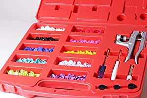 Kam Kit de débutant pour fabrication et pose de boutons pression avec coffre de rangement, pinces et 250 boutons pression