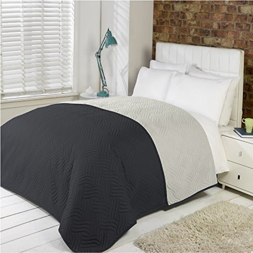 Luxury Soft Quilted Comforter Microfibre Throw Bedspread Bedding Fits Double King Size Bed (Black)