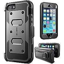 Carcasa para Apple iPhone SE / 5S / 5 , serie i-Blason Armorbox Funda con protector para la pantalla integrada [protección rubusta] con cubierta antigolpes y reductor de impactos (Negro)