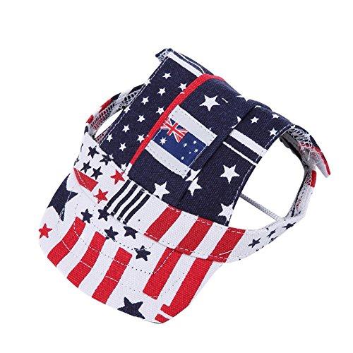 Tofover Baseballkappe für Haustiere, Welpen, Katzen, britischer Stil, mit Nationalflagge, Head Circumference:15