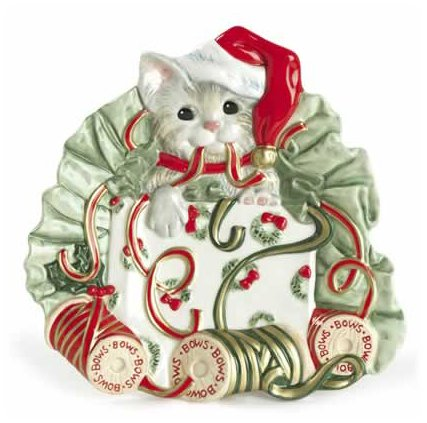 Fitz and Floyd Kitty Kringle Canape Plate by Fitz and Floyd Floyd Kitty