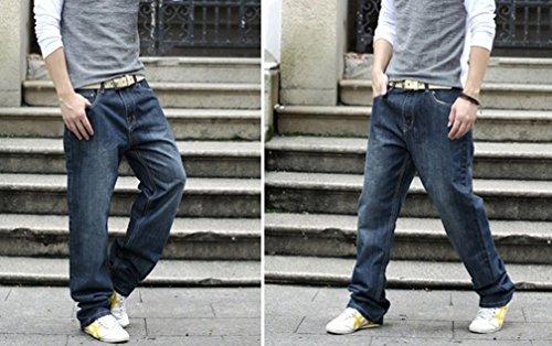 Ghope Jeans de designer pour homme Grande Taille Loose Fit Stretch Jeans Cotton Denim ,3 farbe Blau Schwarz 28W -44W bleu und noir