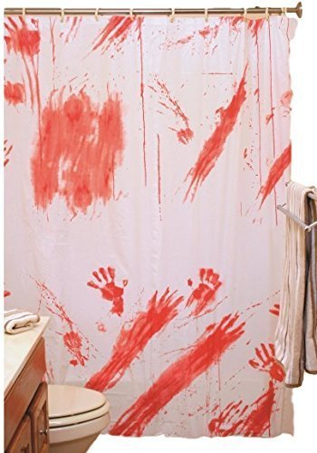 Weiß Rot Blutige Blut Befleckt Duschvorhang Halloween Verkleidung Kostüm Party Badezimmer Wohndeko