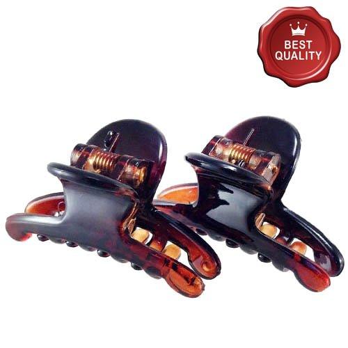 K302 – 003 – Lot 2 pinces pour cheveux fins - Dimension : 4 cm - Couleur : marron, façon écailles de tortue