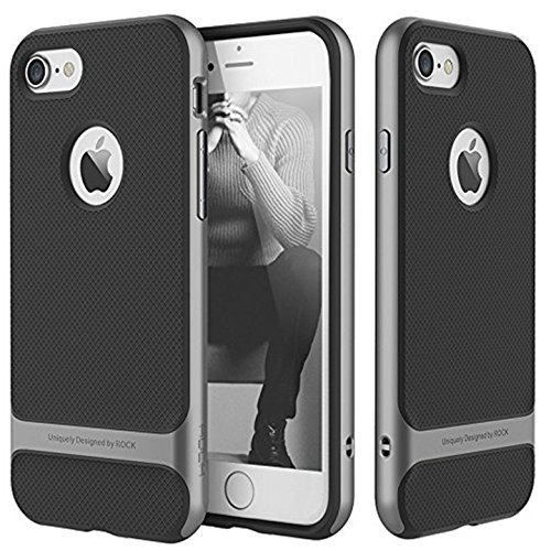 Rock Royce Cover Ultra Thin Shock Proof Dual layer Back Cover Case for Apple iPhone 7 4.7inch (Grey)